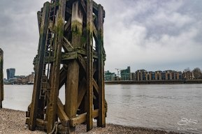 Pilings, Bermondsey Wall, Neckinger, Thames 1/1/2016