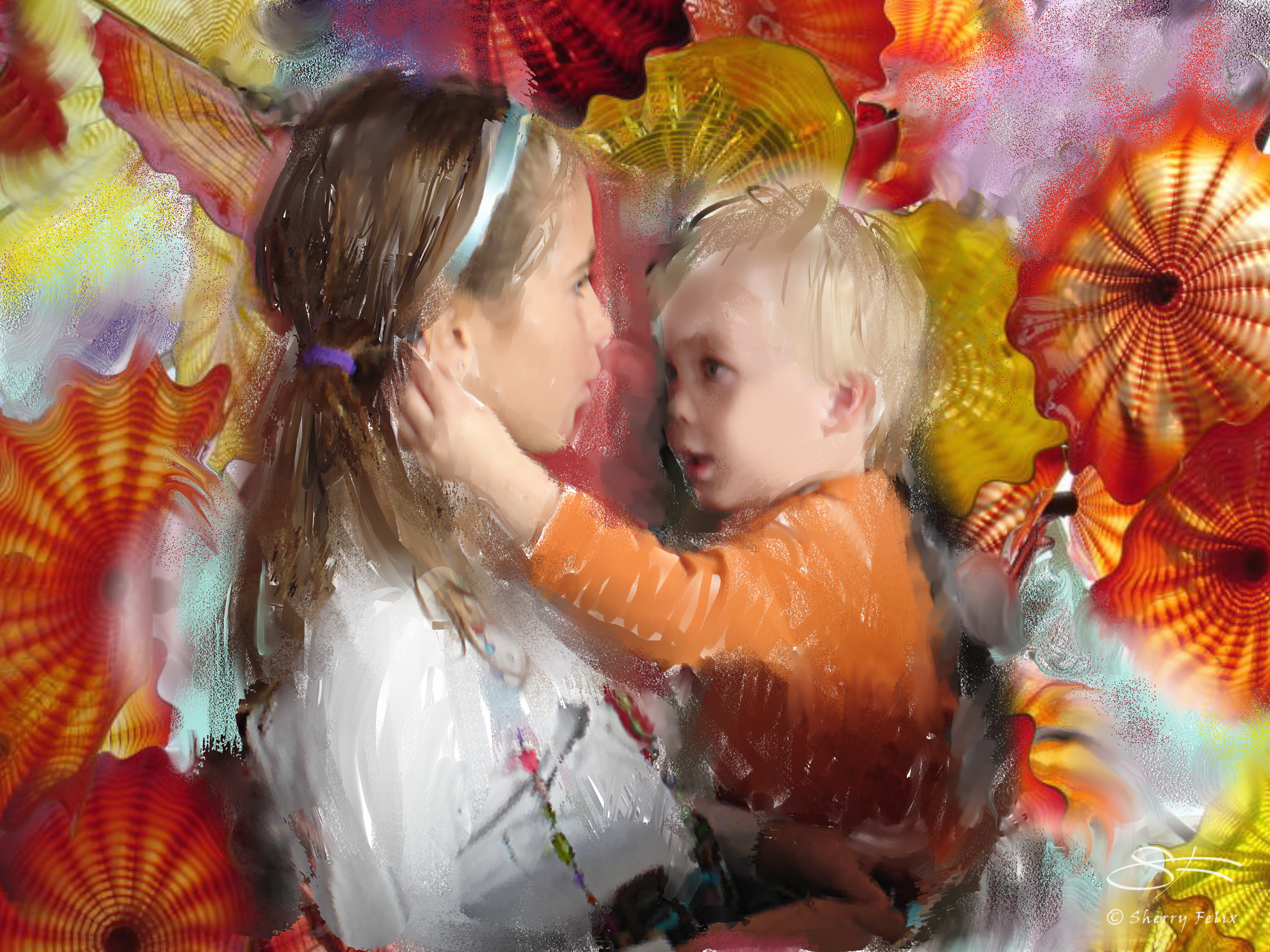 Niece and Nephew with Chihuly Glass 4/27/2008