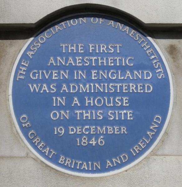First Anaesthetic plaque, Bonham Carter House