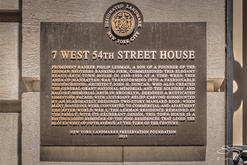 7 W 54 Street House for Philip Lehman 1889. NYC 6/7/2017
