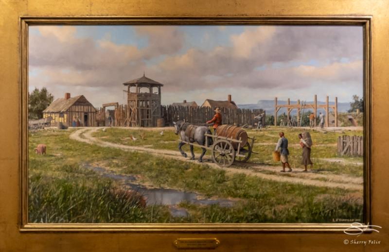 Huguenaut Redoubt c. 1685 by Len Tantillo 2019 https://www.huguenotstreet.org/painting